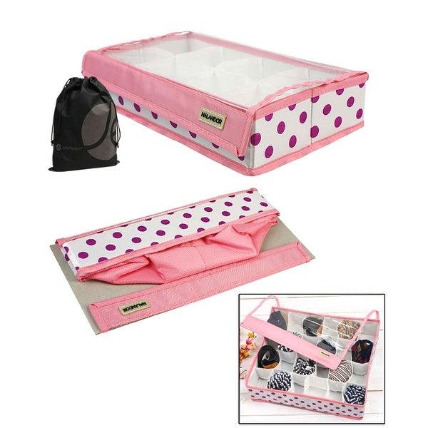 JAVOedge Collapsible Pink 8 Grid Underwear, Tie, Sock Under the Bed Organizer / Storage with Transparent Velcro Lid
