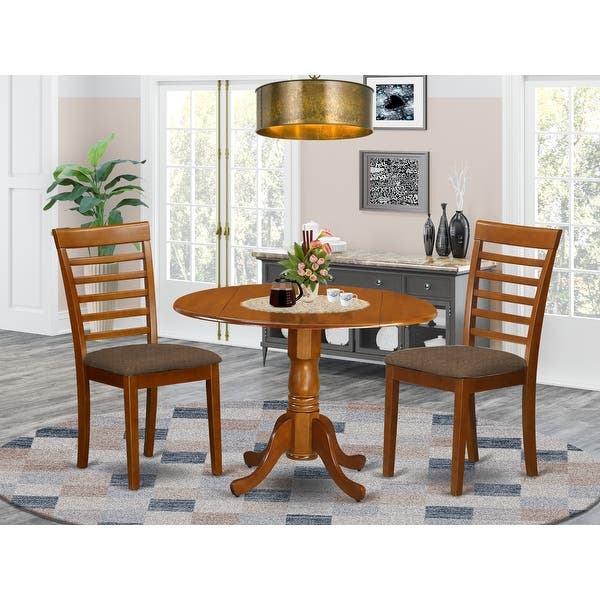 Saddle Brown Small Kitchen Table And 2 Chairs Dining Set Overstock 10201097