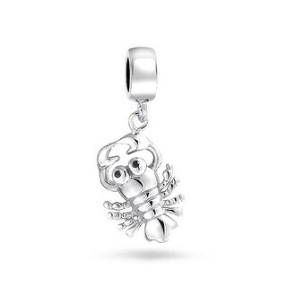 Bling Jewelry 925 Silver Nautical Black Crystal Lobster Dangle Bead Charm