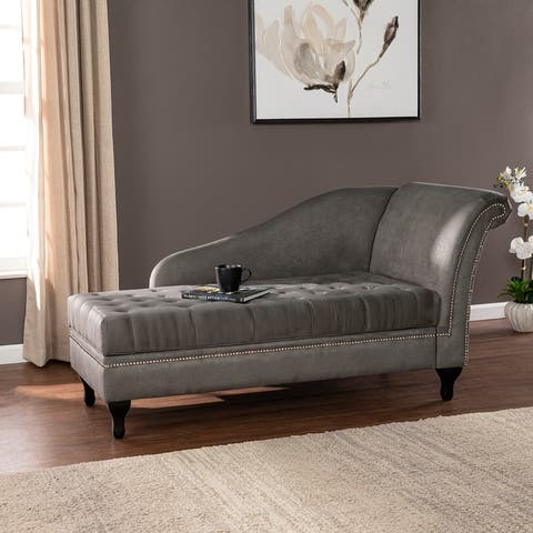 Copper Grove Albertross Traditional Gray Fabric Chaise Lounge