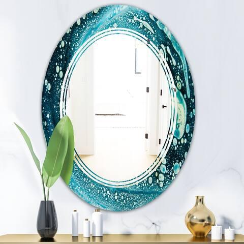 Designart 'Precious Blue Fabulous Pattern' Modern Round or Oval Wall Mirror - Triple C