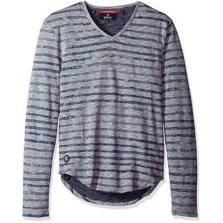 Buffalo David Bitton NEW Blue Mens Size XL Striped Print Tee Shirt