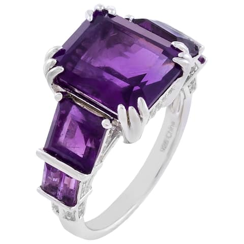 8.06cttw 7-Stone African Amethyst Engagement Ring, Sterling Silver
