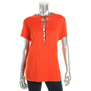 Guess Womens Casual Top Lace-Up Crew Neck Orange M