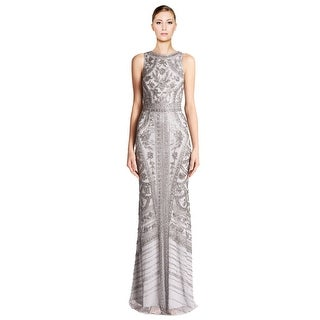 Theia Silver Floral Beaded Column Gown
