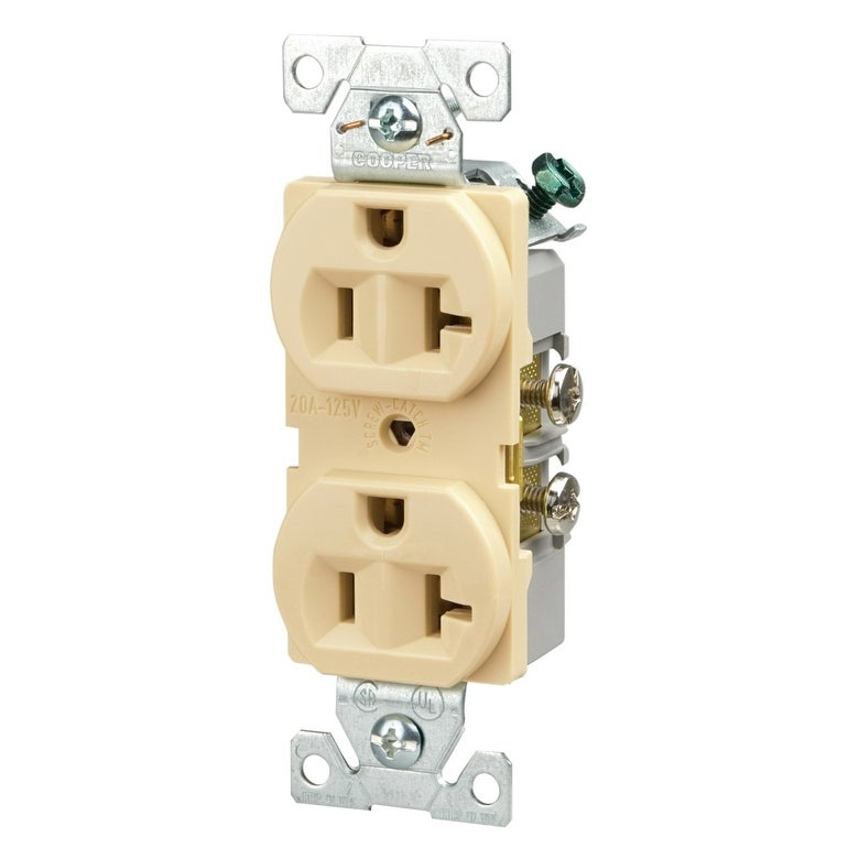 Cooper Wiring BR20V 3-Wire Duplex Receptacle, 20 Amp, Ivory