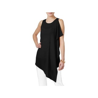 Cable & Gauge Womens Tunic Top Crepe Asymmetric