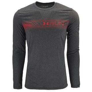 Under Armour Men's Heatgear Run L/S Small Logo - grey heather/red
