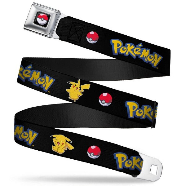 Pok Ball Full Color Black Pokemon Pikachu Poses & Pok Ball Black Webbing Seatbelt Belt