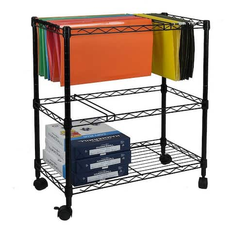 2-Tier Metal Rolling Mobile File Cart for Letter Size Office Supplies