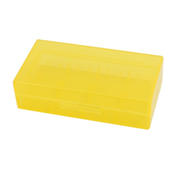 78mmx42mmx21mm Hard Plastic Battery Storage Case Holder Organizer Yellow
