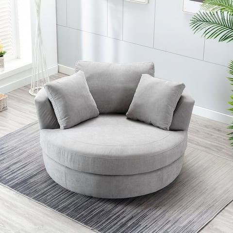 Elegant Round Swivel Barrel Chair