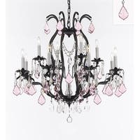 Wrought Iron Crystal Chandelier Dressed with Pink Crystals