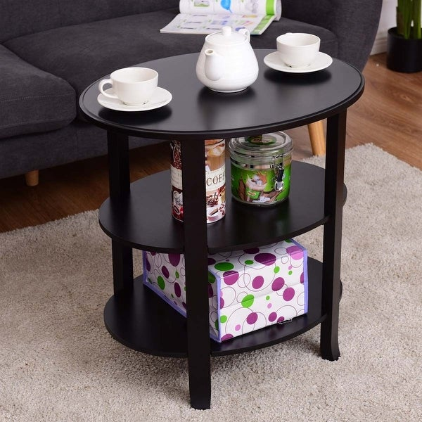 Oval Wooden Coffee Table With Shelf: Shop Costway 3-Tier Oval End Table Accent Coffee Table