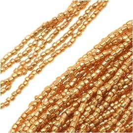 Czech Tri-Cut Seed Beads Size 12/0 - Metallic Gold (1 Strand/360 Beads)