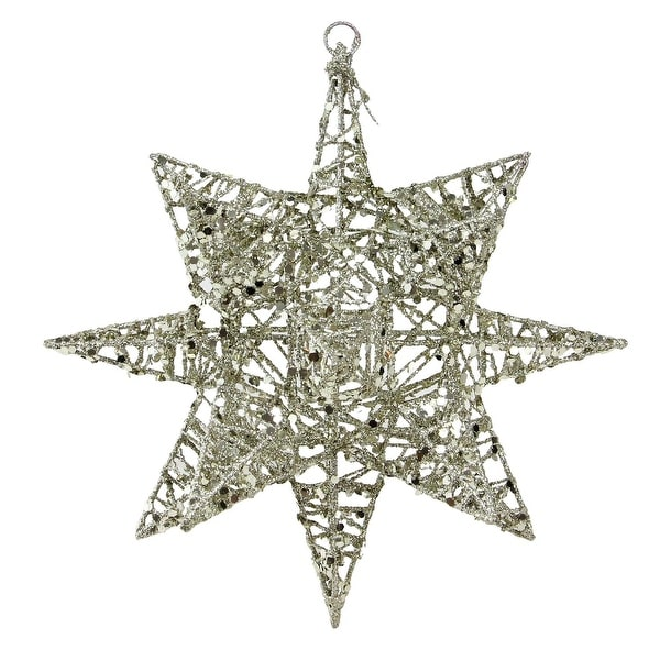 "7"" Sparkling Gold 3-Dimensional Star Shaped Christmas Ornament"