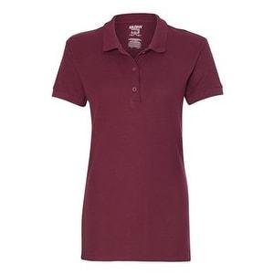 Gildan Premium Cotton Women's Double Pique Sport Shirt - Maroon - XL