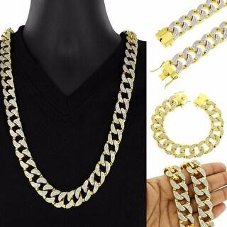 Iced Out Lab Diamond 14k Gold Tone Miami Cuban Heavy Necklace Bracelet Set