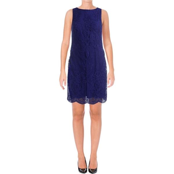 Lauren Ralph Lauren Womens Cocktail Dress Lace Overlay Sleeveless