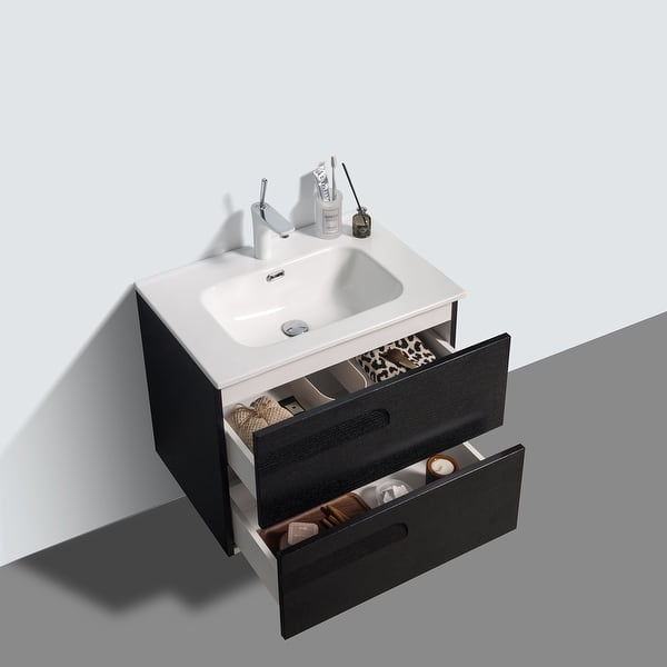 Eviva Joy 28 Blackwood Wall Mount Bathroom Vanity W White Integrated Top Overstock 32822054
