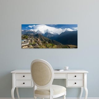 Easy Art Prints Panoramic Image 'Houses in a town on a hill, Ghandruk, Annapurna Range, Himalayas, Nepal' Canvas Art