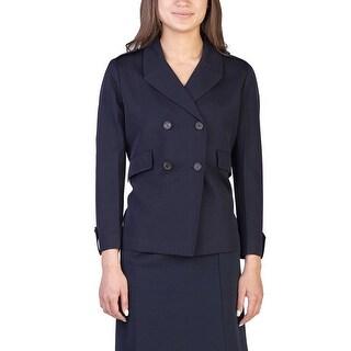 Prada Women's Wool Double Breasted Coat Navy - 8