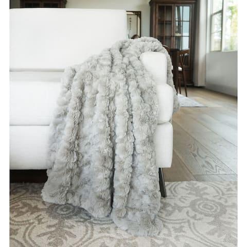 "Millihome Morgan Taupe Faux Fur Throw Blanket 50""x60"""