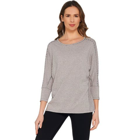 AnyBody Womens Cozy Knit Striped Dolman Sleeve Top X-Small Pink A302404