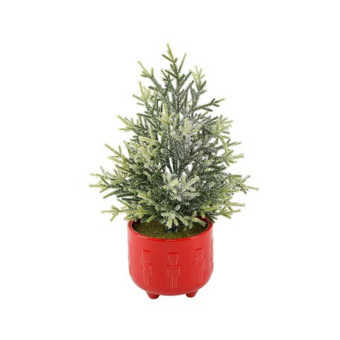 """18.5""""H Frosted Xmas Tree in 6""""Cracker Ceramic Footed"""