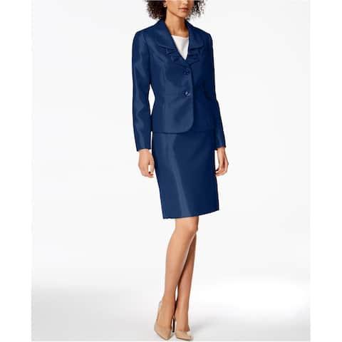 Le Suit Womens Ruffle-Lapel Two Button Blazer Jacket, Blue, 14