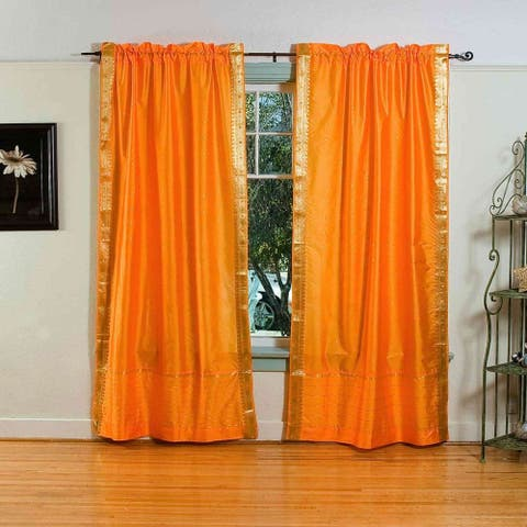 Pumpkin Rod Pocket Sheer Sari Curtain / Drape / Panel - Pair