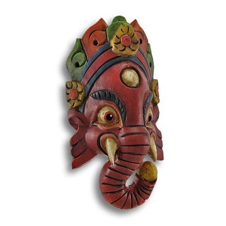 Hand Crafted Wooden Ganesha Mask Wall Decor
