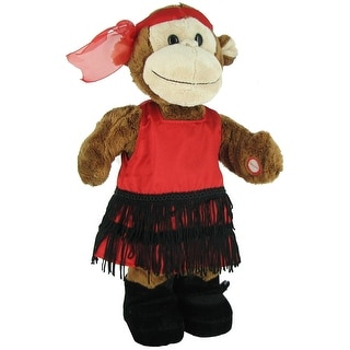 Applause Dance Party Animals Musical Plush 40s Girl Monkey - Red