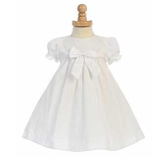 White Striped Seersucker Bow Easter Spring Dress Baby Girls 6-24M