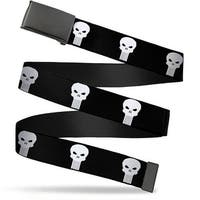 Marvel Universe Blank Black  Buckle Punisher Logo Black White Webbing Web Belt