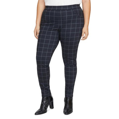 Sanctuary Womens Plus Pants Glen Plaid Pull On - Black - 2X