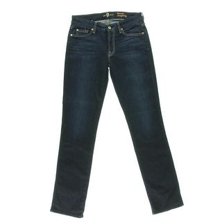 7 For All Mankind Womens Kimmie Dark Wash Low-Rise Straight Leg Jeans
