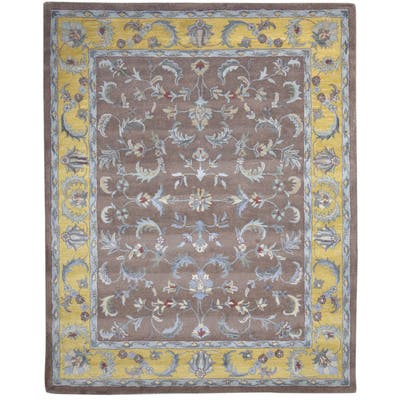 One of a Kind Hand-Tufted Persian 8' x 10' Oriental Wool Brown Rug - 8' x 10'