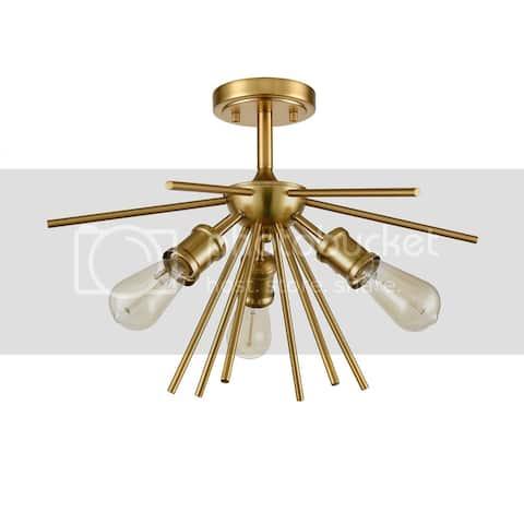 Tramonti Mid-Century Modern 3-Light Sputnik 20-in Semi Flush Mount Ceiling Light