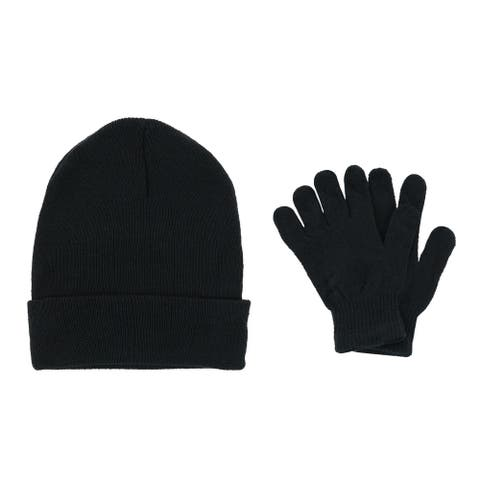 Polar Extreme Men's Solid Beanie Cuff Cap and Matching Gloves Set - one size