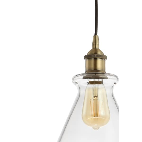 Goldwater 7 5 Adjustable Drop Metal Glass Led Pendant Brass Gold By Jonathan Y On Sale Overstock 27543685