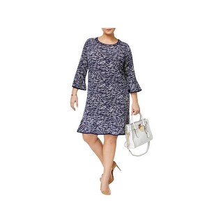 MICHAEL Michael Kors Womens Plus Casual Dress Printed Flounce-Hem