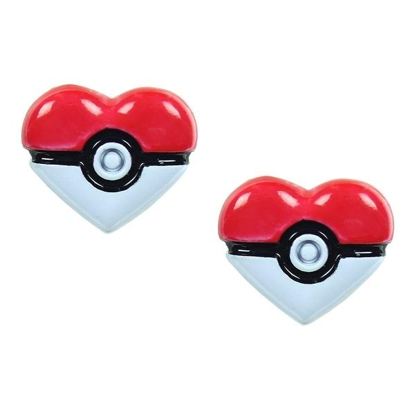 Pokemon Pokeball Heart Stud Earrings