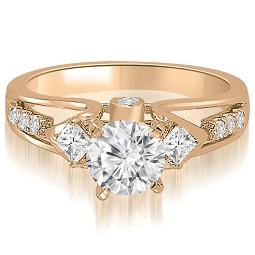 1.15 cttw. 14K Rose Gold Vintage Round And Princess Diamond Engagement Ring