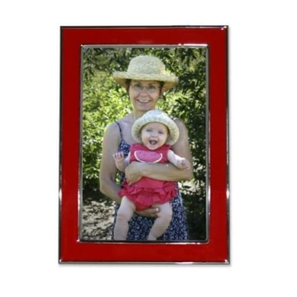 Shop Silver Plated 5x7 Metal With Red Enamel Picture Frame Free