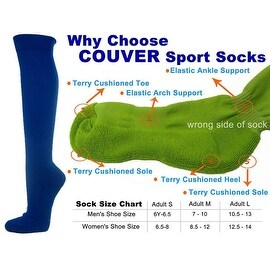 Blue Couver Knee High Unisex Sports Athletic Baseball Softball Socks(3 Pairs)