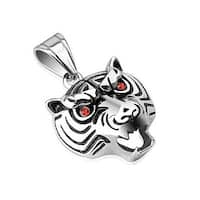 Growling Tiger with Red CZ Eyes Stainless Steel Pendant (26 mm Width)