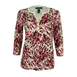 Karen Scott Women's 3/4 Sleeve Floral-Print Split Neck Top