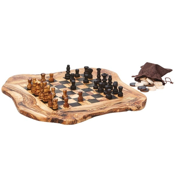 "Real Olive Wood Chess and Checkers Set - Rough Cut - 15"" x 16"" - Brown - 15 in. x 16 in."