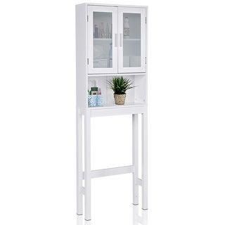 Costway Wooden Over The Toilet Storage Cabinet Spacesaver Organizer Bathroom Tower Rack - White